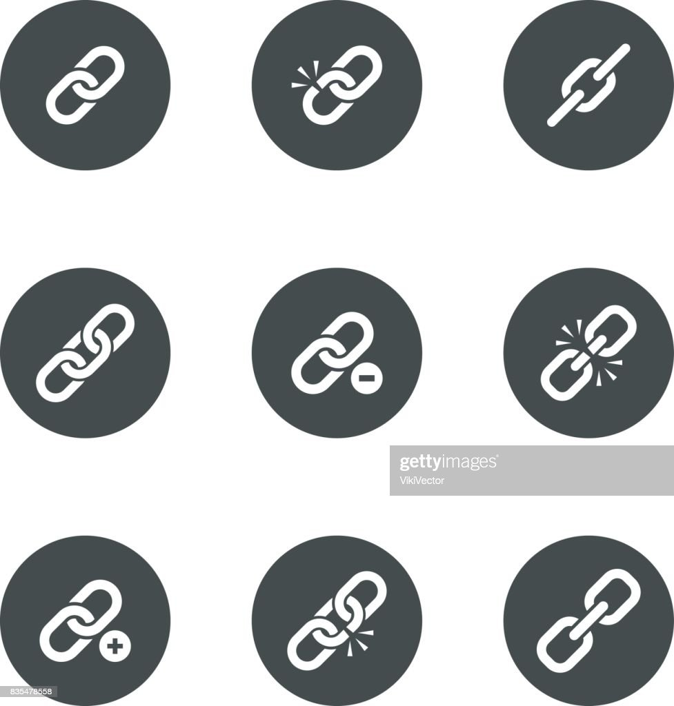 Web Link Icon Set In Black Round Frame Vector Art Getty Images