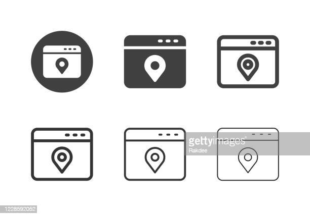 web location service icons - multi series - putting stock illustrations