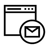 web mail thin line vector icon