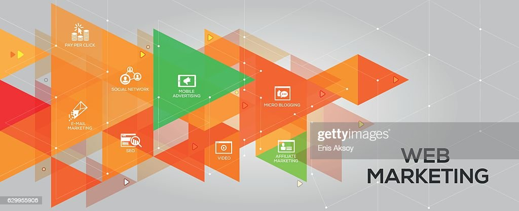 Web Marketing banner and icons : stock illustration