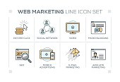 Web Marketing keywords with line icons