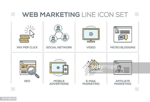 ilustrações, clipart, desenhos animados e ícones de web marketing keywords with line icons - online advertising