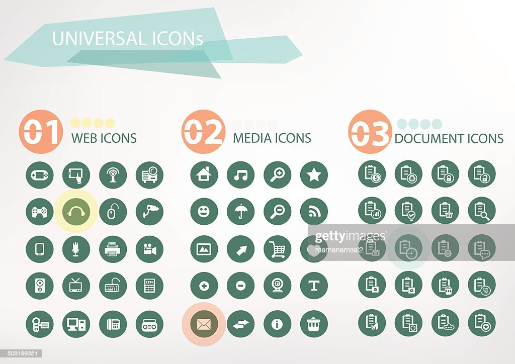 Web, Media, Office icons,vector