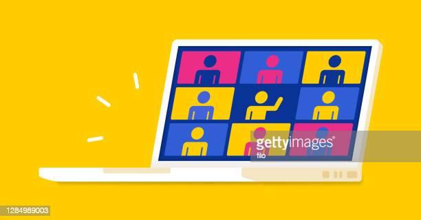 web meeting people laptop - bildschirmpräsentation stock-grafiken, -clipart, -cartoons und -symbole