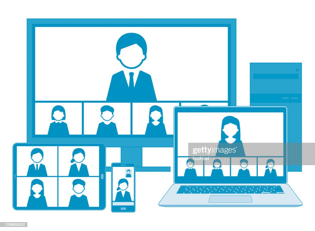 Web meeting with line illustration set,blue,with line : stock illustration