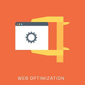 Web Optimization, flat style, colorful, vector icon for info gra