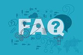 FAQ web page banner concept with thin line flat design