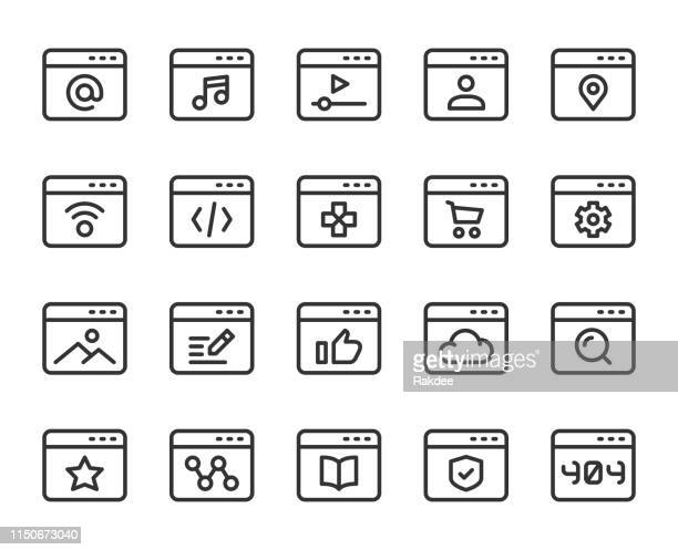 web page - line icons - history stock illustrations