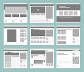 Web pages layout. Internet browser windows with website elements interface ui template vector design