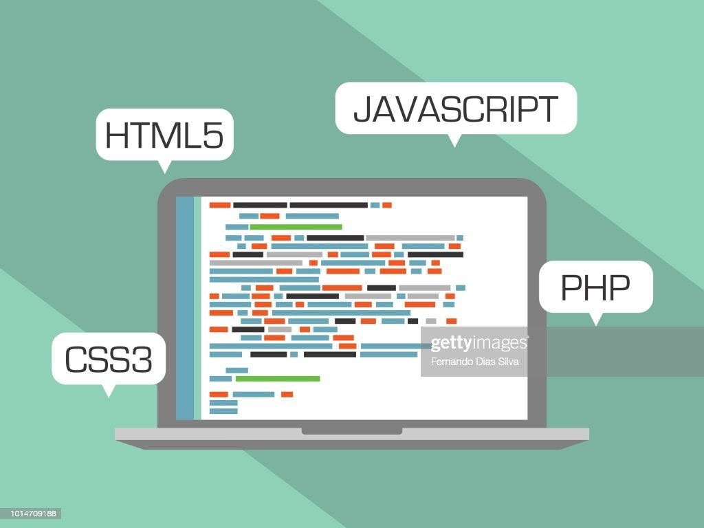 Web programming concept. Design flat, languages HTML5, CSS3, JAVASCRIPT and PHP.