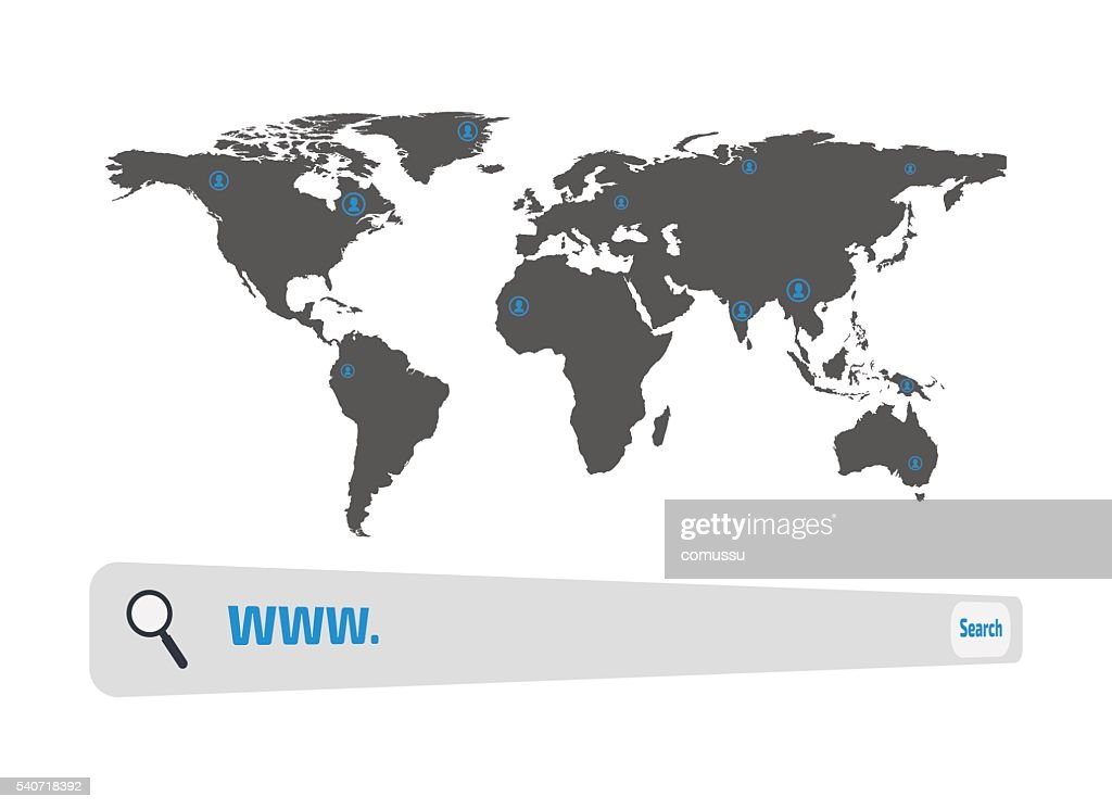 Search World Map.Web Search Engine Button And World Map Vector Illustration Vector