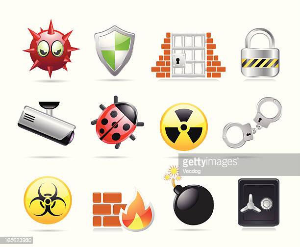 web security icons - malfarbe stock illustrations