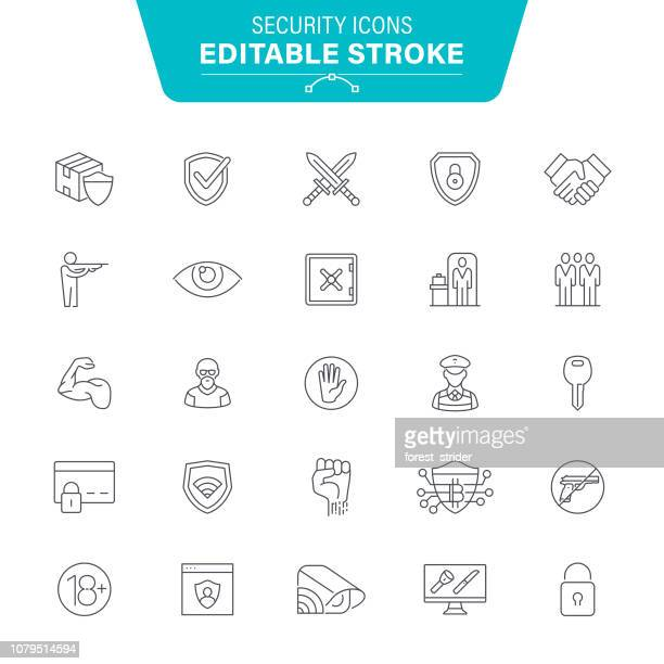 web security line icons - security system stock illustrations