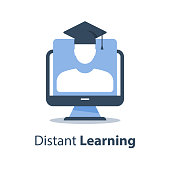 Web seminar, education webinar, online course, subject lecture, distant exam, computer monitor and person in graduation hat