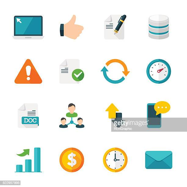 web set | flat design icons - labeling stock illustrations, clip art, cartoons, & icons