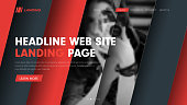 Web site header template with diagonal hovering lines and a place for photos