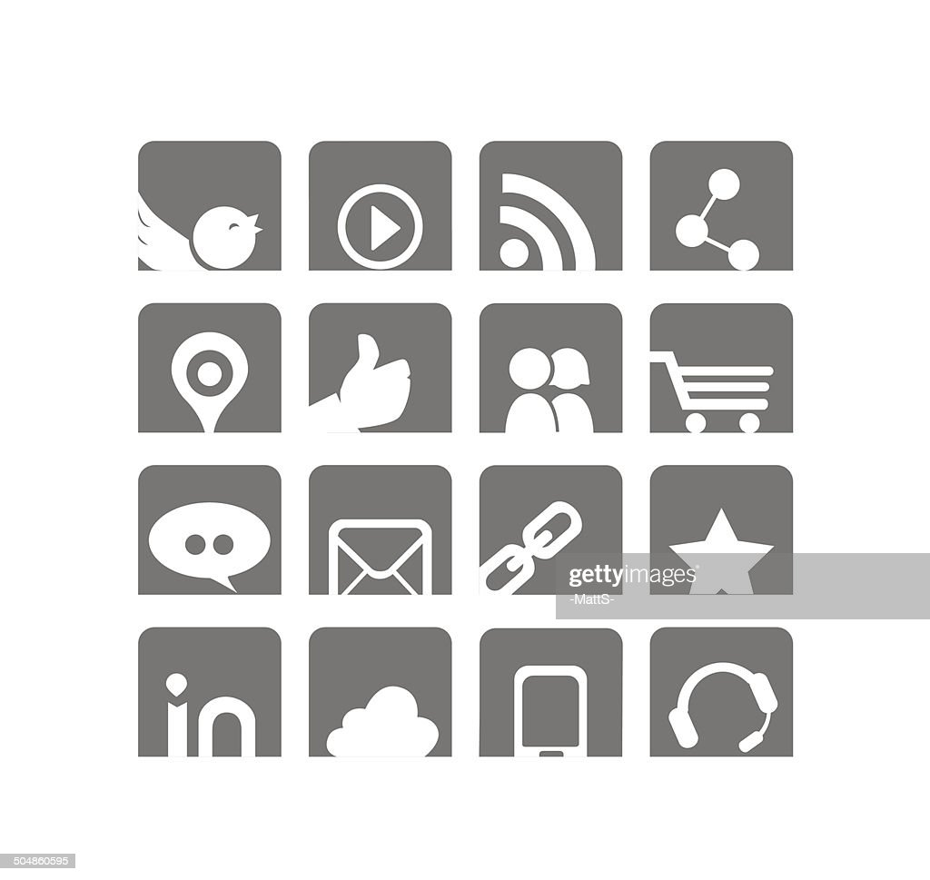 Web & Social Networks Icon Set |White & Grey Series