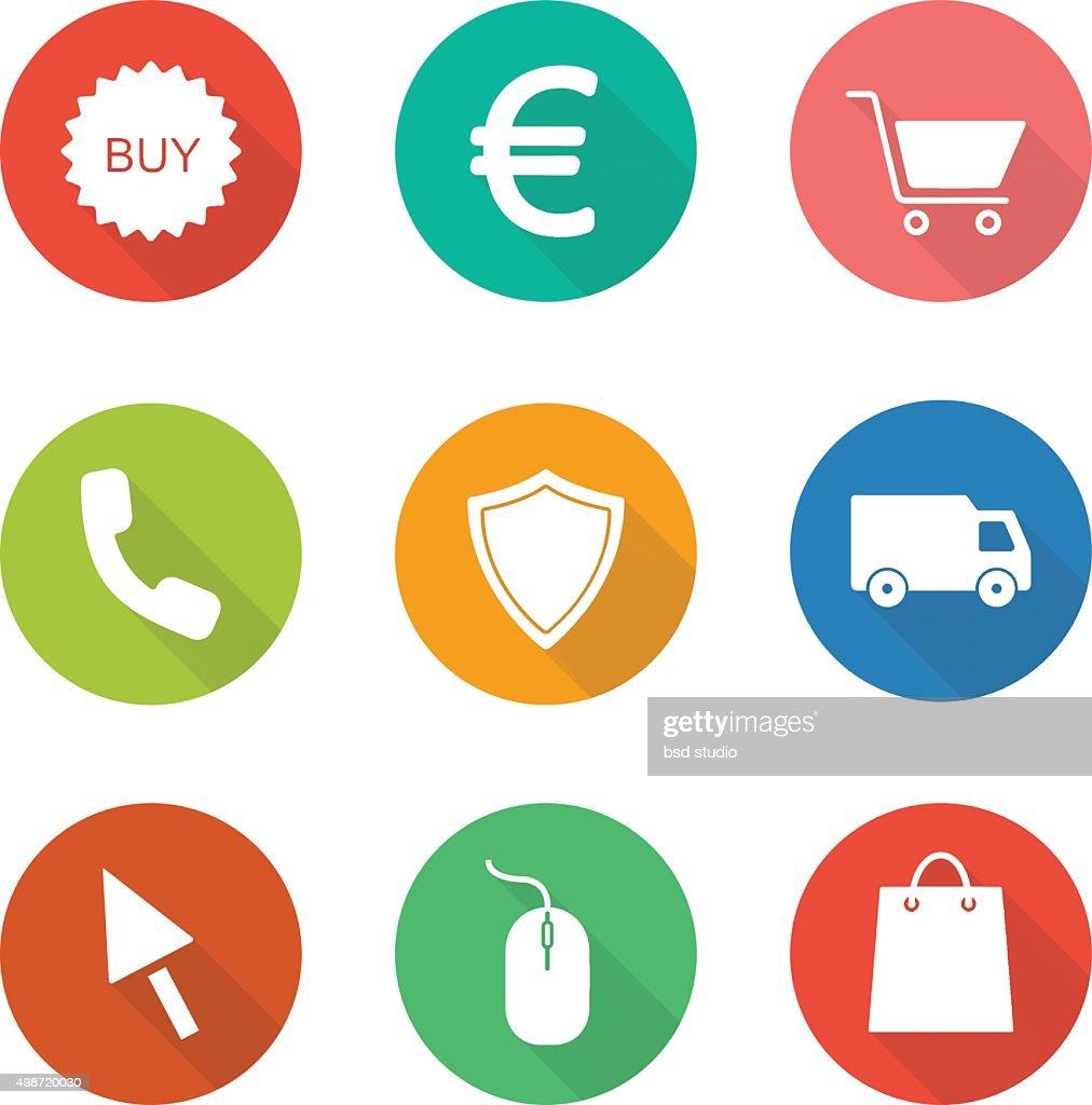 Web store flat design icons set