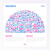Web traffic concept in half circle with thin line icons: SEO technology, data exchange, sync, click, mobile backup, traffic speed, sales growth. Modern vector illustration for print media, web page.