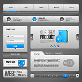 Web UI Controls Elements Gray And Blue On Dark Background: Navigation Bar, Buttons, Accordion, Tabs, Login Form, Search