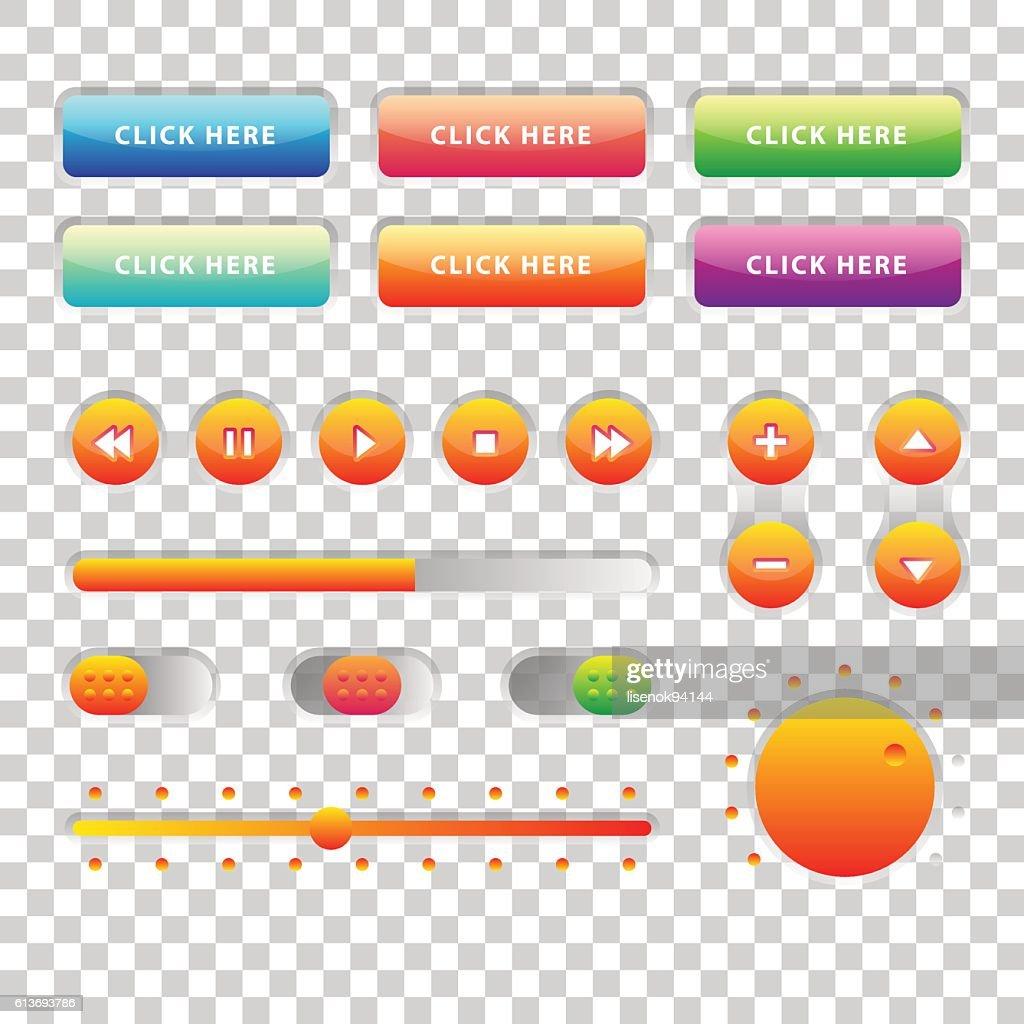 Web UI UX Music Elements Design set: Buttons, Switchers, Slider