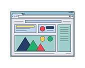Web wireframe. Internet window with website page template.