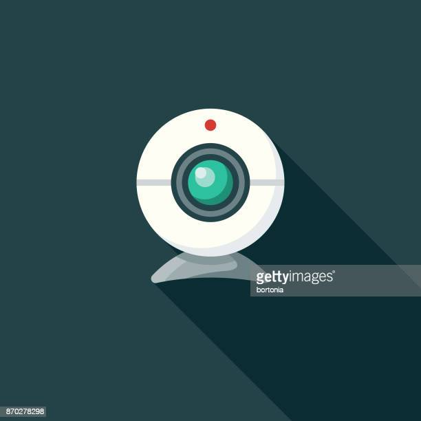 Webcam Flat Design Communications Icon with Side Shadow
