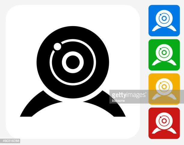 webcam icon flat graphic design - webcam media apparaat stock illustrations