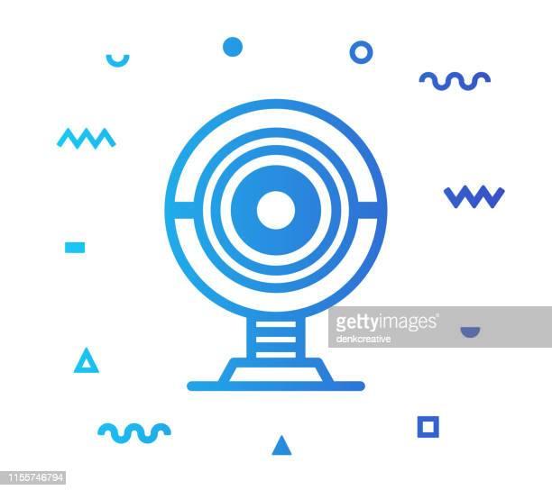 webcam line style icon design - body camera stock illustrations
