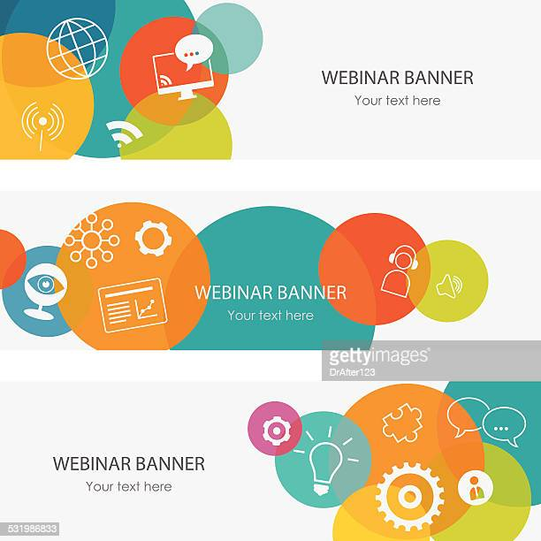 webinar banners - web conference stock illustrations