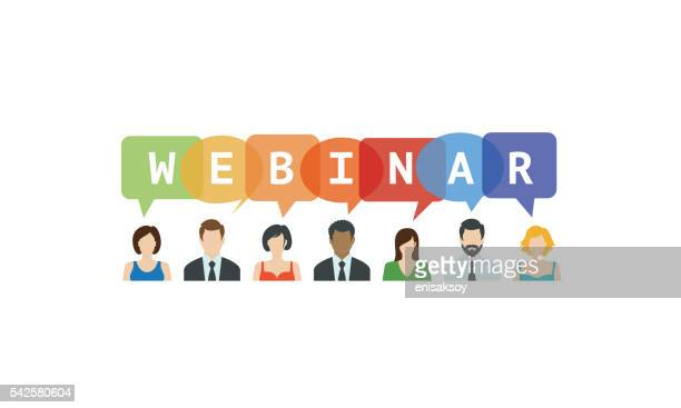 webinar concept. people icons with speech bubbles - web conference stock illustrations