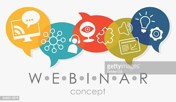 webinar concept - web conference stock illustrations