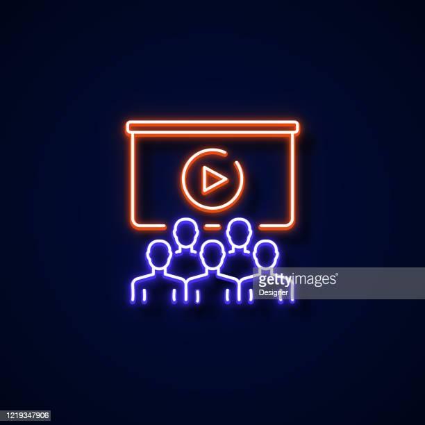 webinar icon neon style, design elements - royal blue stock illustrations