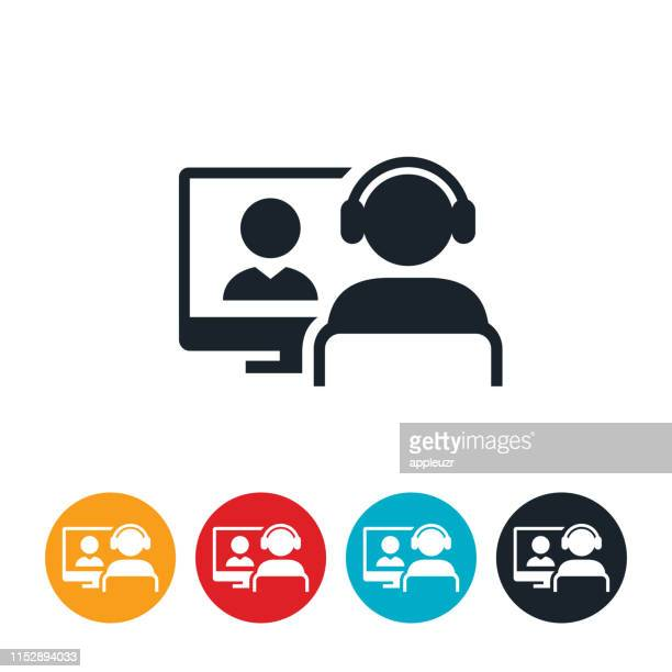 illustrazioni stock, clip art, cartoni animati e icone di tendenza di webinar icon - videoconferenza