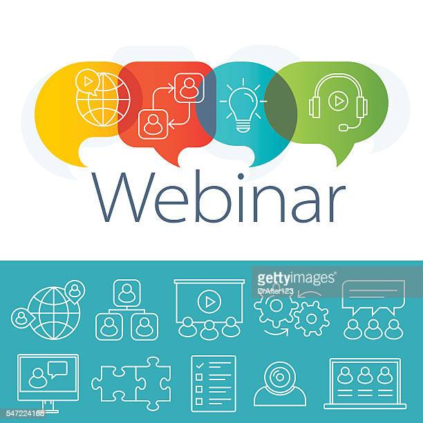 webinar logo plus outline icons set - video conference stock illustrations