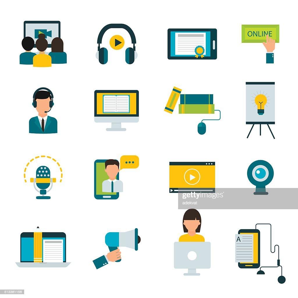 Webinar online education flat icons vector set