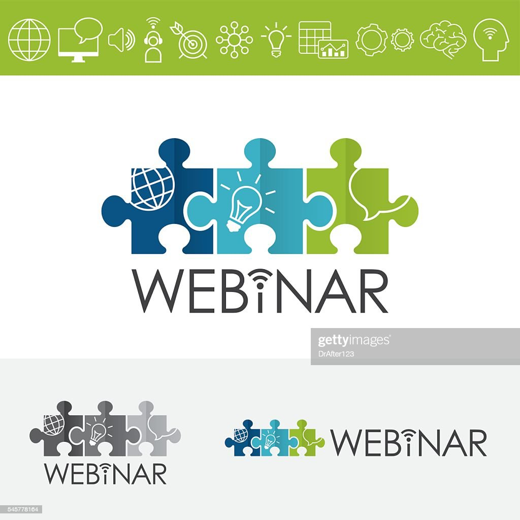 Webinar Puzzles Logo Including Icons Set : stock illustration