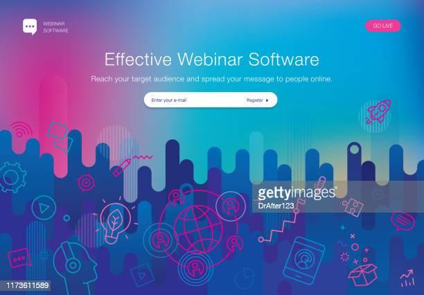 ilustraciones, imágenes clip art, dibujos animados e iconos de stock de plantilla de sitio web de software de seminario web - reunión