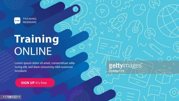 illustrazioni stock, clip art, cartoni animati e icone di tendenza di webinar training online banner - banner web
