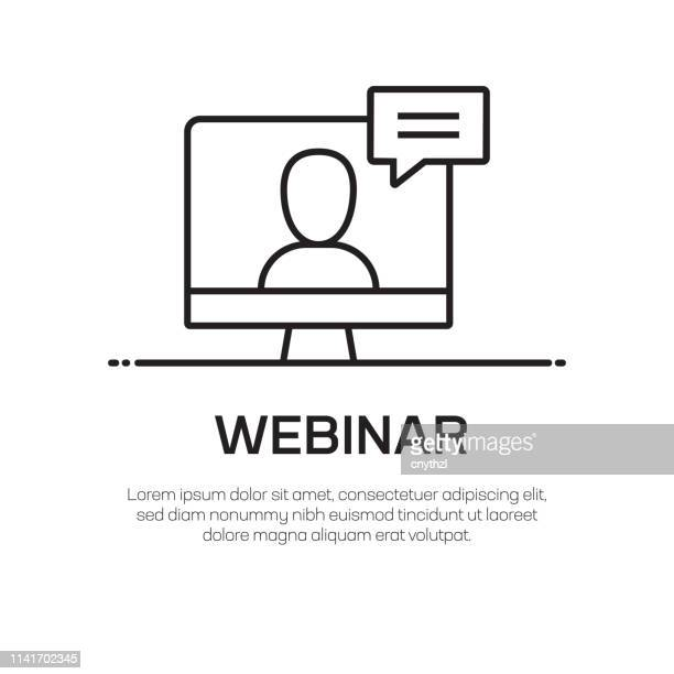 webinar vector line icon - simple thin line icon, premium quality design element - web conference stock illustrations