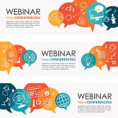 Webinar Vibrant Banners And Icon Set