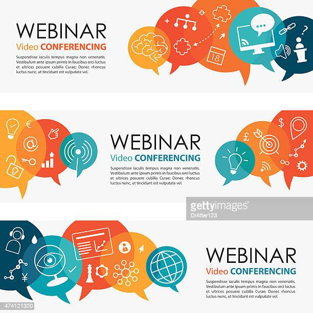 webinar vibrant banners and icon set - video conference stock illustrations