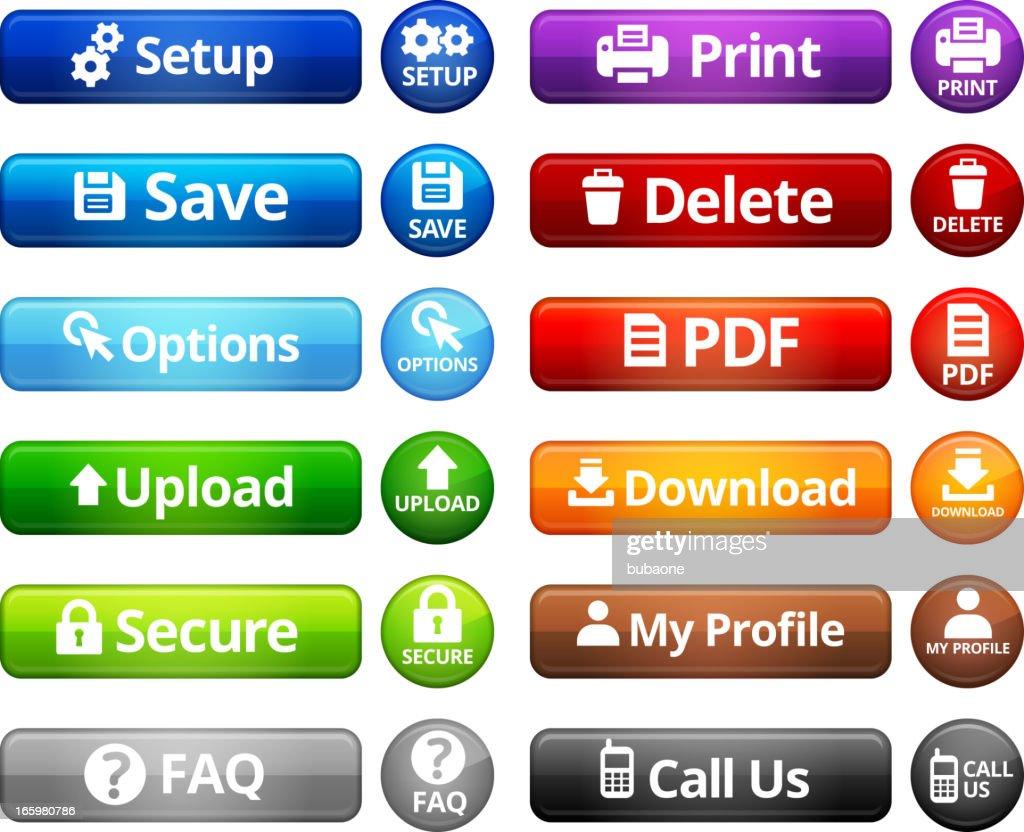Webpage Navigation Internet Buttons royalty free vector set