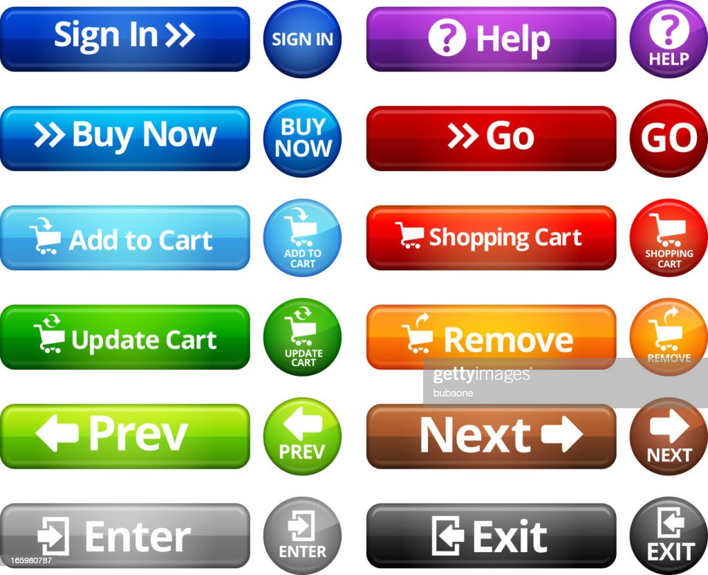 Webpage Navigation Internet Buttons royalty free vector set