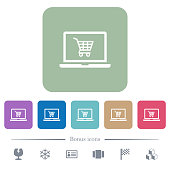 Webshop flat icons on color rounded square backgrounds