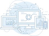 Website analytics and online marketing research abstract design