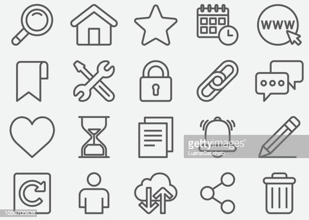 website and homepage line icons - heart symbol stock illustrations