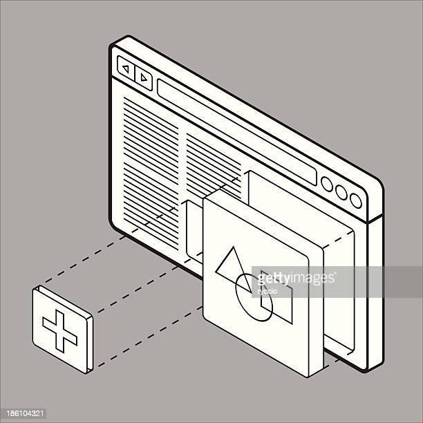 ビルダー wireframe ウェブサイト - ワイヤーフレーム作成点のイラスト素材/クリップアート素材/マンガ素材/アイコン素材