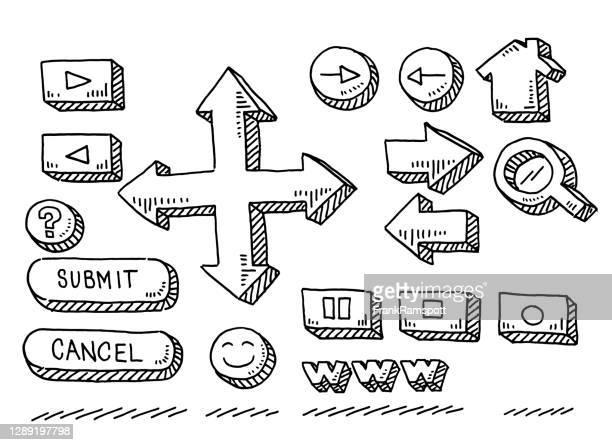 ilustrações, clipart, desenhos animados e ícones de desenho do conjunto de botões do site - submita busca