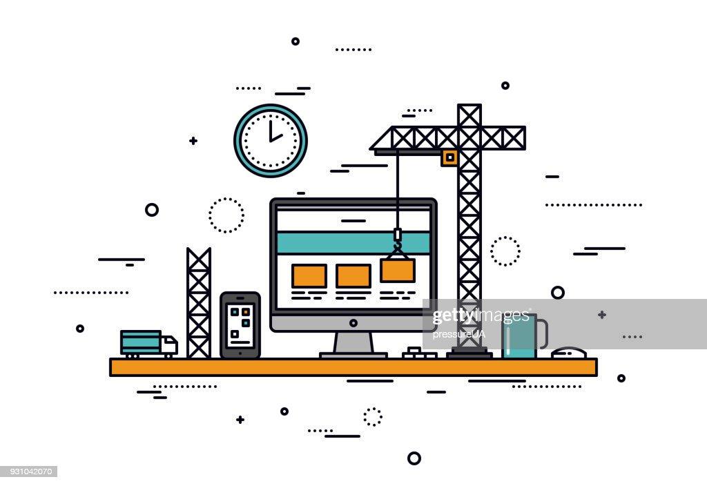 Website construction line style illustration
